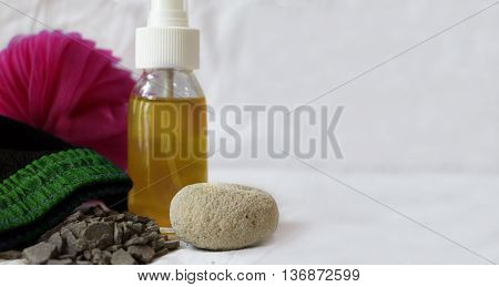 Moroccan bath with soap and glove and natural clay