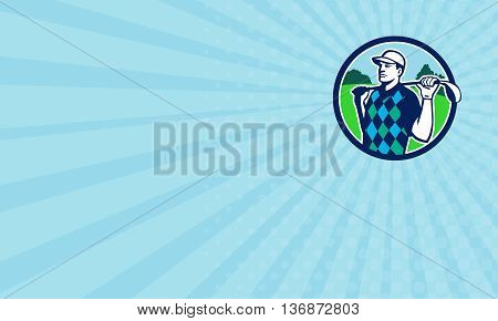 Business card showing illustration of golfer wearing argyle vest and hat holding golf club on shoulder looking to the side with trees in the background set inside circle done in retro style.