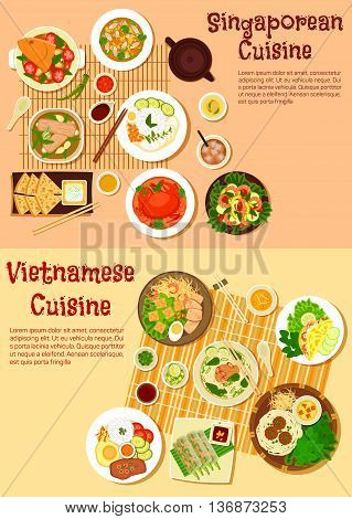 Asian cuisine icon with flat symbols of vietnamese spring rolls and singaporean chilli crab, seafood curries and meat soups, shrimp salad and nasi lemak rice, flatbread with tartar sauce and rice pancake, noodles with meatballs and vermicelli cakes