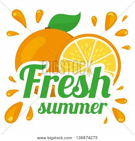 Fresh summer product sale template. Vector fruit and text.