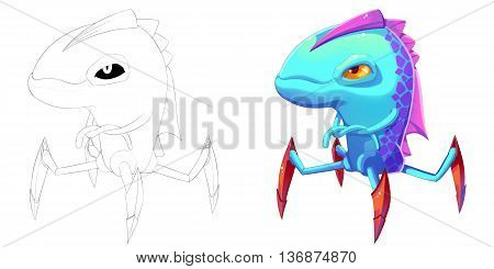 Fish Spider and Claw Shark Creature. Coloring Book, Outline Sketch, Monster Mascot Character Design isolated on White Background