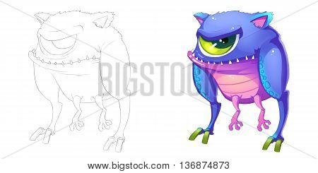 One Eye Machine Chick Foot Creature. Coloring Book, Outline Sketch, Monster Mascot Character Design isolated on White Background