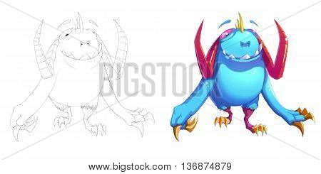 Funny Claw Bird and Turkey Creature. Coloring Book, Outline Sketch, Monster Mascot Character Design isolated on White Background