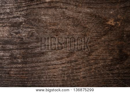 Old dark wood texture with grain, wood background