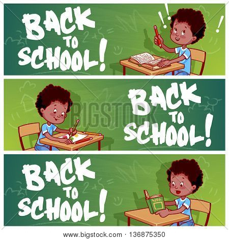 Three horizontal banners with african american schoolboy. Back to school! Vector template flayer isolated on a white background.