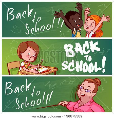 Three horizontal banners with school children and teacher. Back to school! Vector template flayer isolated on a white background.