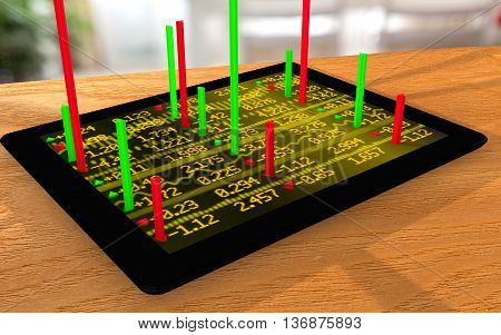 Tablet with a stock ticker wall on a table and rising bar charts augmented reality 3D illustration