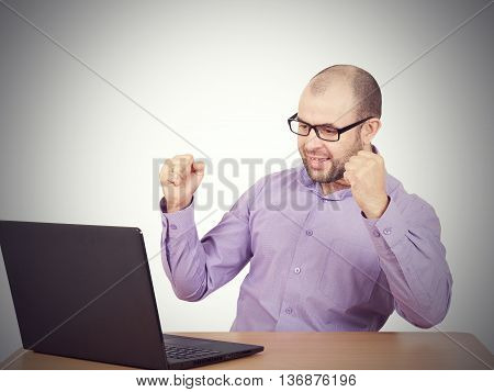 Businessman Bald With Beard Wearing Shirt And Glasses