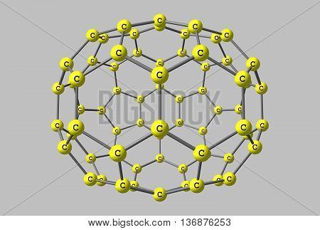 Fullerene molecular model C70 on gray background.