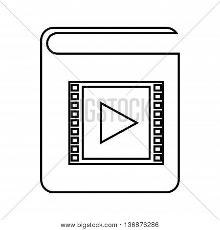 electronic book with play button isolated icon design, vector illustration  graphic