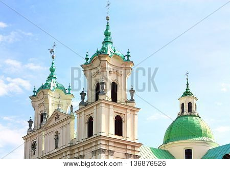 Seventeenth-century Basilica with two bell towers and rotunda