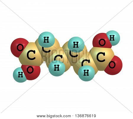 Adipic acid is the organic compound. It is a precursor for the production of nylon. 3d illustration