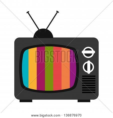 black old television with colorful stripes on the screen over isolated background, vector illustration