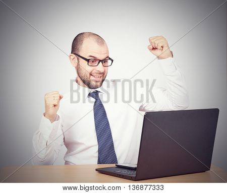 Funny Photo Of Businessman Bald With Beard Wearing Shirt And Glasses.