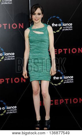 Ellen Page at the Los Angeles premiere of 'Inception' held at the Grauman's Chinese Theater in Los Angeles, USA on July 13, 2010.