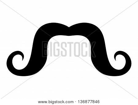 black vintage man moustache over isolated background, vintage fashion concept, vector illustration