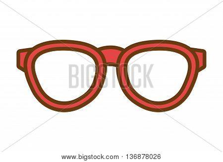 orange hipster man eyeglasses over isolated background, hipster fashion concept, vector illustration