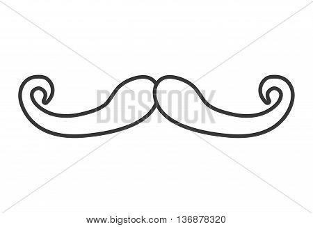white vintage man moustache over isolated background, vintage fashion concept, vector illustration