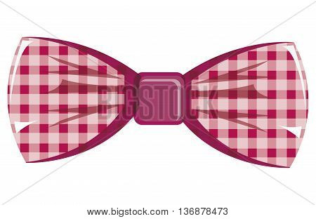 pink and white  bow tie front view over isolated background, hipster fashion concept, vector illustration