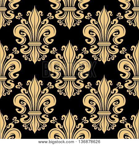 Gorgeous seamless golden fleur-de-lis pattern over black background with decorative floral heraldic motif, adorned by curlicues. Great for luxury wallpaper or upholstery textile design