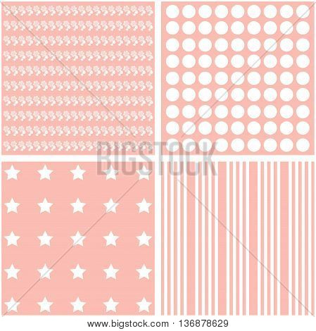 Set of 4 background patterns in light pink.