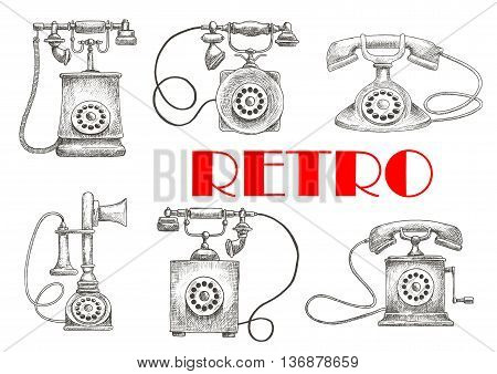 Old fashioned rotary dial telephones vintage engraving sketch illustration with decorative handsets. Contact us button or communication theme design usage