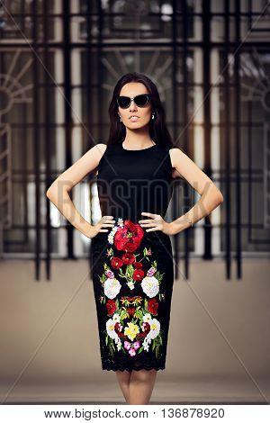 Fabulous Fashionable Woman With Dark Sunglasses in Fashion Pose