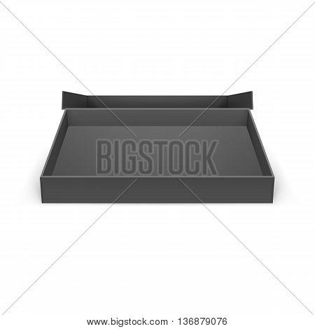 Illustraion of open black cardboard boxes on a white for design