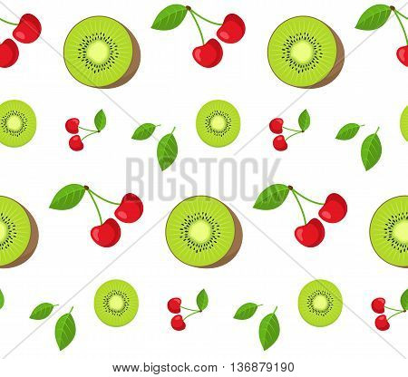 Seamless pattern of bright colored fruits. Vector illustration.