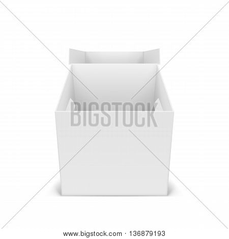 Illustraion of open white cardboard boxes for design
