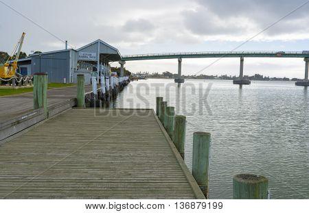 Goolwa wharf and the bridge that takes you to Hindmarsh Island South Australia. Part of the Fleurieu Peninsula.