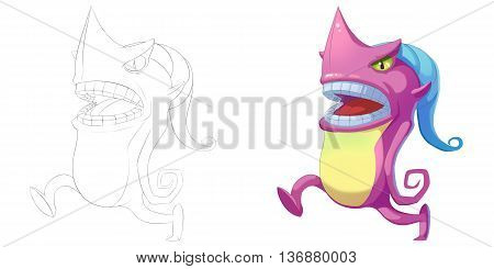 Running Shark Head Creature. Coloring Book, Outline Sketch, Monster Mascot Character Design isolated on White Background