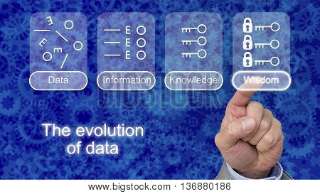 The evolution of data with icons on blue gear background touched by a finger on wisdom