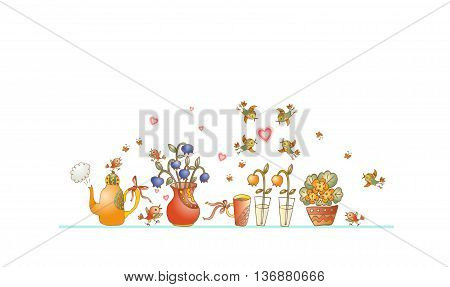 Tea time. Cute shelf with teapot, teacups, flowers and birds on white background. Beautiful colorful hand drawn vector illustration.