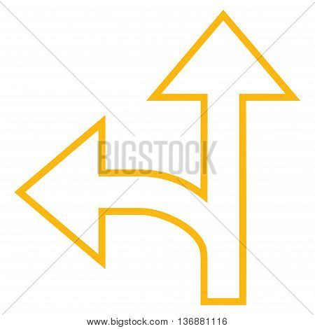 Split Direction Left Forward vector icon. Style is contour icon symbol, yellow color, white background.