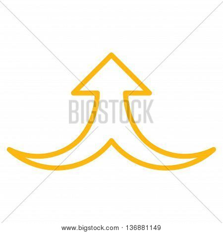 Together Arrow Up vector icon. Style is contour icon symbol, yellow color, white background.