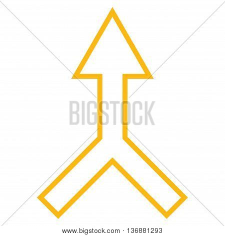 Unite Arrow Up vector icon. Style is thin line icon symbol, yellow color, white background.