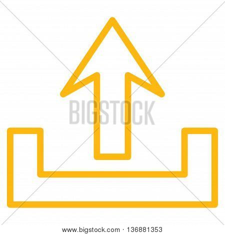 Upload vector icon. Style is stroke icon symbol, yellow color, white background.