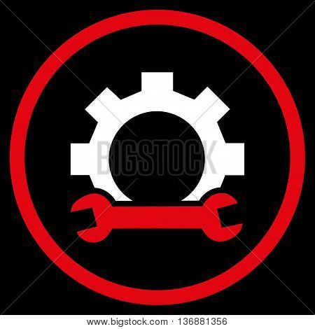Hardware Maintenance vector bicolor icon. Image style is a flat icon symbol inside a circle, red and white colors, black background.