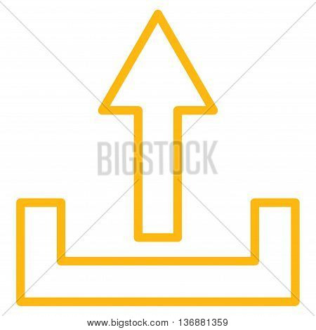 Upload vector icon. Style is thin line icon symbol, yellow color, white background.