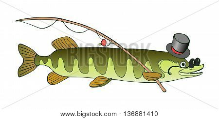 Erudite pike in hat and glasses is going to fish. Vector cute cartoon illustration.