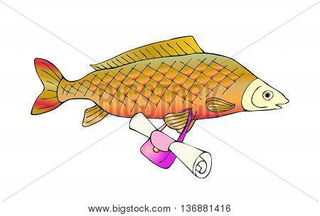 Fresh water fish carp with bag. Vector cute cartoon illustration.
