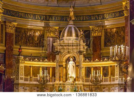 BUDAPEST, HUNGARY -  JUNE 10, 2016 Altar Basilica Saint Stephens Cathedral Budapest Hungary. Saint Stephens named after King Stephens who brought Christianity to Hungary. Cathedral built in the 1800s and consecrated in 1905.