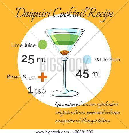 Daiquiri receipt. Daiquiri bartender cocktail vector receipt poster