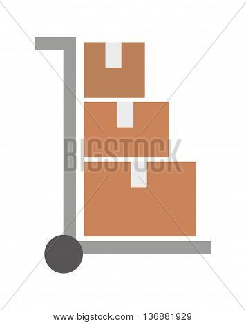 cart to transport boxes isolated icon design, vector illustration  graphic