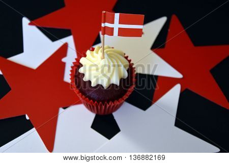 Danish National Day cupcake with red and white flag. Denmark Constitution Day. Glad Grundlovsdag.