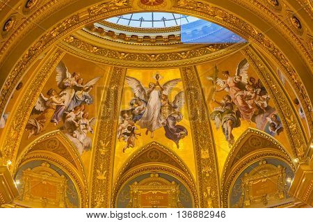 BUDAPEST, HUNGARY -  JUNE 10, 2016  Angels Mosaics Basilica Arch Saint Stephens Cathedral Budapest Hungary. Saint Stephens named after King Stephens who brought Christianity to Hungary. Cathedral built in the 1800s and consecrated in 1905.