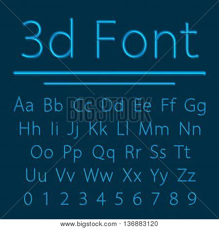 Volumetric Font, 3d Line Letter with Shadow. Vector Illustration. Relief Tube Alphabet.