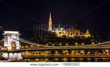 Chain Bridge Matthias Church Fisherman's Bastion Night Budapest Hungary