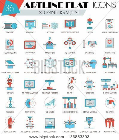 Vector 3D printing ultra modern outline artline flat line icons for web and apps
